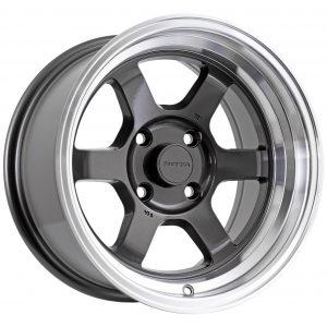 Rota Grid V - Silver dish wheel with 6 Black spokes